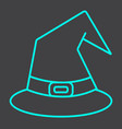 witch hat line icon halloween and scary wizard vector image vector image