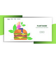 woman sitting on plant based meat hamburger vector image vector image
