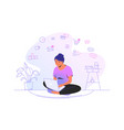 working online with laptop at home cute woman vector image vector image