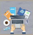 workplace top angle view concept business man sit vector image vector image