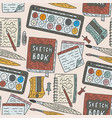 writing accessories seamless pattern vector image vector image