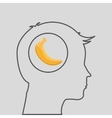 silhouette head with tasty banana icon graphic vector image