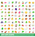 100 cafe icons set isometric 3d style vector image vector image