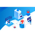 3d isometric nodal data center with workspace vector image vector image