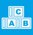 abc cubes icon white vector image vector image