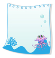 An empty paper template with a jellyfish at the vector image vector image