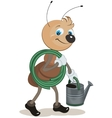 Ant gardener carries the hose and watering can vector image vector image