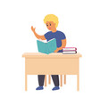 boy reading book smart smiling child sitting on vector image