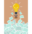 Businessman on lightbulb balloon get away from a vector image vector image