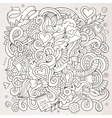 Cartoon hand-drawn Love Doodles Sketchy vector image vector image