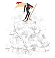 cartoon man tidying up papers vector image vector image