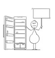 cartoon of hungry obese or fat man holding empty vector image vector image