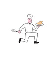 Chef With Chicken Spatula Running Cartoon vector image