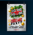 christmas party flyer with gift box vector image vector image