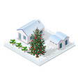 christmas winter city graphic conceptual holiday vector image