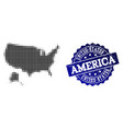 collage of halftone dotted map of usa and alaska vector image vector image