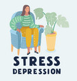 crying woman in depression or stress sits on chair vector image