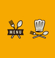 cuisine cooking logo or label menu design for vector image vector image