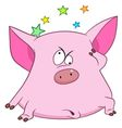 cute cartoon pig with stars vector image vector image