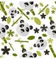 cute cartoon seamless pattern with panda vector image
