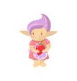cute troll girl character holding strawberry vector image