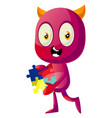devil with puzzle on white background vector image vector image