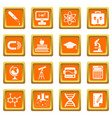 education icons set orange vector image vector image