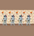 four knights standing by castle wall vector image vector image