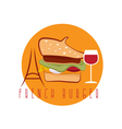 french burger concept with beret hat eiffel tower vector image vector image