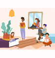 group diverse friends relaxing with books vector image vector image