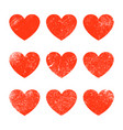 grunge heart shape red heart vintage brush vector image
