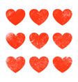 grunge heart shape red heart vintage brush vector image