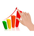 hand with graph vector image vector image