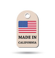 hang tag made in california with flag on white vector image vector image
