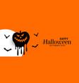 happy halloween orange banner with scary pumpkin vector image vector image