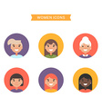 Icons of diverse smiling women Bright colored flat vector image vector image