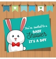 invitation baby shower card with bunny desing vector image vector image