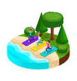 isometry is an island with a beautiful beach vector image