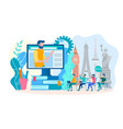 learning foreign languages online in a group vector image vector image
