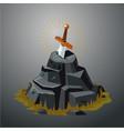 legendary sword in stone excalibur vector image vector image