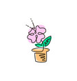 line icon flower in a pot gardening vector image vector image