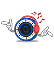 listening music qash coin mascot cartoon vector image vector image