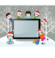 Merry christmas with happy kids and tablet vector image vector image