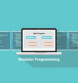 modular programming language concept terms in vector image