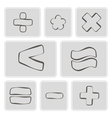 monochrome icons with arithmetic symbols vector image vector image