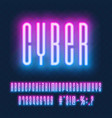 neon font glowing blue and pink capital letters vector image