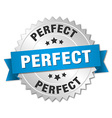 perfect 3d silver badge with blue ribbon vector image vector image
