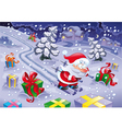 Santa Claus skiing in the night vector image vector image