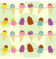 seamless pattern with garland of ice cream vector image