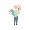 senior man carring woman in his arms elderly vector image vector image